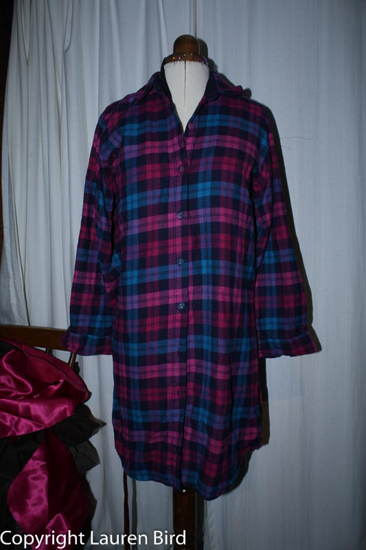 Charity shop shirt used for the lining of the version 2 bag