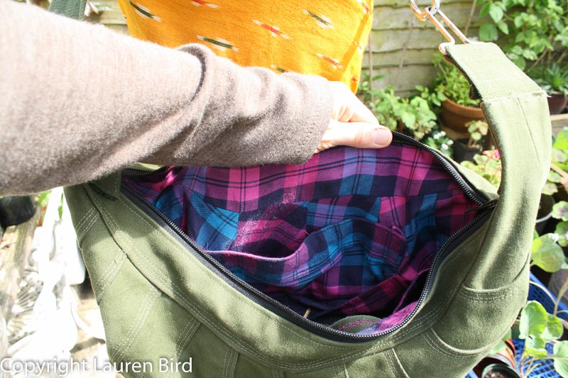 armadillo bag version 2 inside charity shop shirt lining with pockets