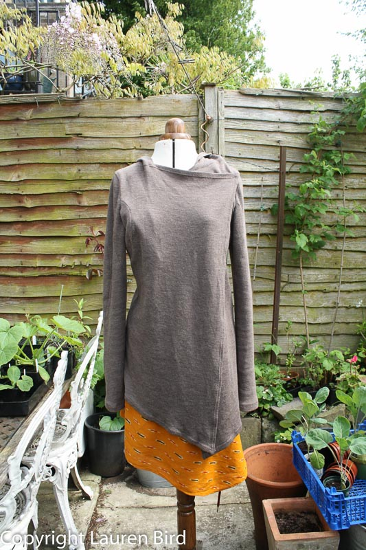 Wool jersey hooded top