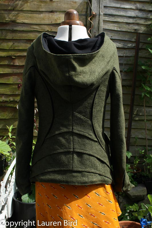 Hooded top made with boiled wool and black jersey cotton