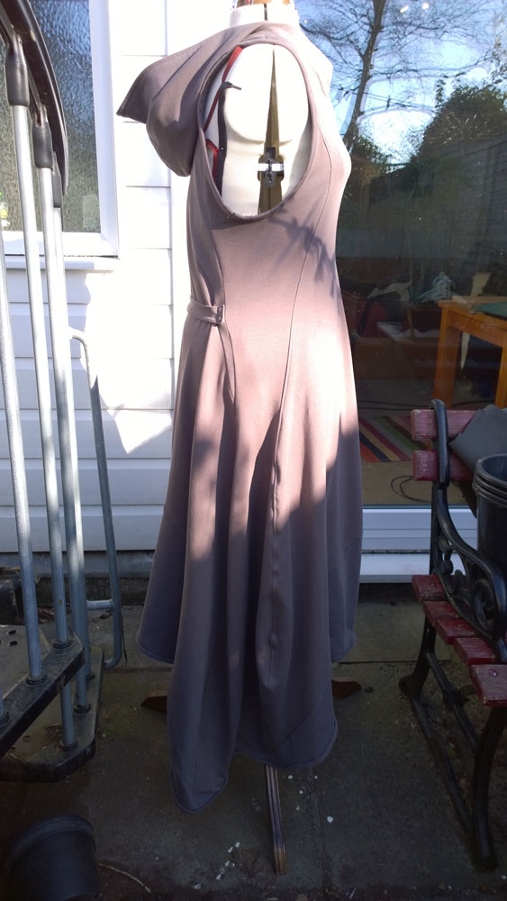 Dress made from thick grey jersey material. Turned out a bit weird
