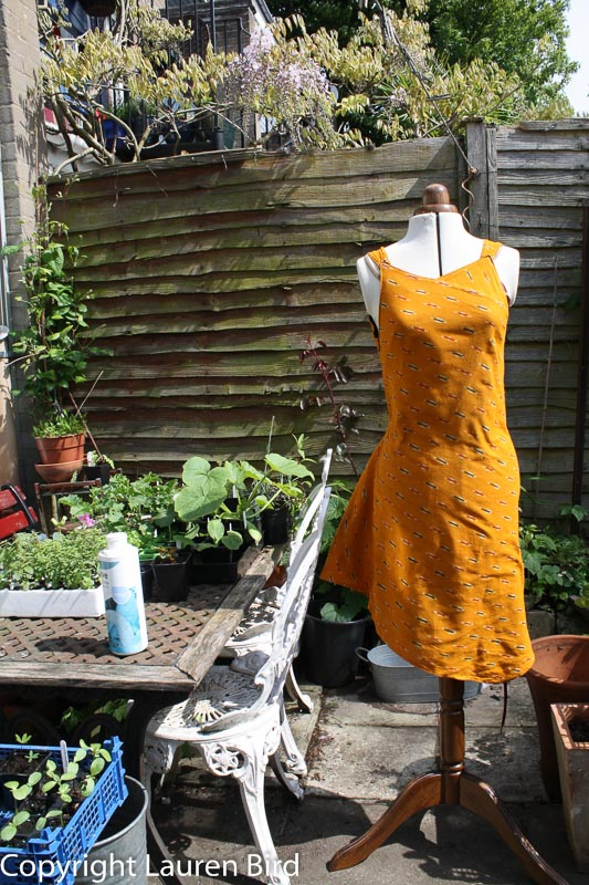 Yellow cotton dress made from Indian fabric remnant